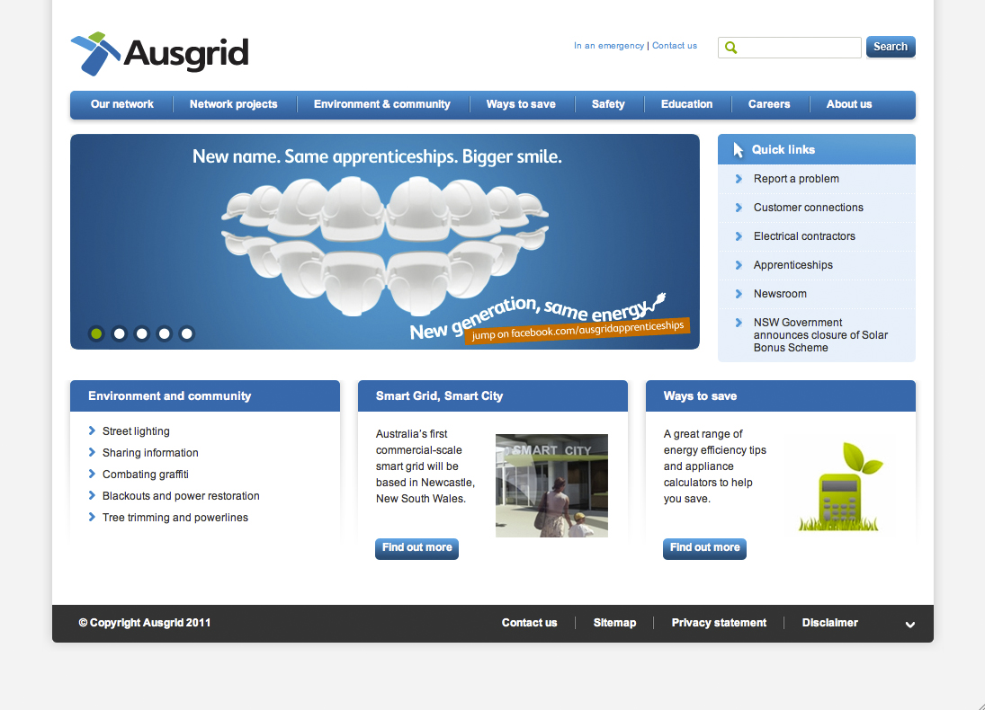 Photography on Ausgrid Website